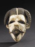African: , Ogoni (Nigeria). Mask, Elu. Wood, pigment. Height: 8 ½inches Width: 6 5/8 inches Depth: 4 ¾ inches. This white-face...