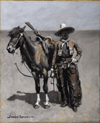 FREDERIC REMINGTON (American 1861-1909) A Mexican Buccaro - In Texas, circa 1890 Oil on canvas 21-1/2 x 17-1/2 inches