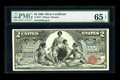 Large Size:Silver Certificates, Fr. 247 $2 1896 Silver Certificate PMG Gem Uncirculated 65 EPQ.This $2 Educational is hugely margined on the face with exce...