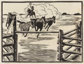 Texas:Early Texas Art - Drawings & Prints, FRANK REDLINGER (1909-1936). Wrangler, 1933. Block print. 81/2in. x 11 1/4in.. Signed and dated lower right. Titled low...