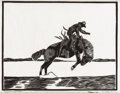 Texas:Early Texas Art - Drawings & Prints, FRANK REDLINGER (1909-1936). Headin for the Tulles, 1932.Block print. 8 1/2in. x 10 3/4in.. Signed and dated lower righ...