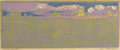 Paintings, FRANK REDLINGER (1909-1936). Evening on the Desert, 1933. Color-block print. 6in. x 14 1/2in.. Signed and dated lower ri...