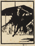 Paintings, FRANK REDLINGER (1909-1936). Rodeo, 1934. Block print. 9 1/2in. x 7 1/4in.. Signed and dated lower right. Titled lower l...