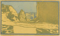 Texas:Early Texas Art - Drawings & Prints, FRANK REDLINGER (1909-1936). Canyon De Chelly, 1931.Color-block print. 6in. x 10 1/4in.. Signed and dated lower right....