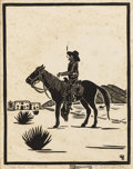 Texas:Early Texas Art - Drawings & Prints, FRANK REDLINGER (1909-1936). Vaquerro - Mexico, 1932. Blockprint. 6 3/4in. x 5 1/4in.. Signed and dated lower right. Ti...