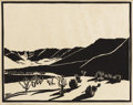 Texas:Early Texas Art - Drawings & Prints, FRANK REDLINGER (1909-1936). Hills (Buffalo Gap), 1934.Block print. 9in. x 11in.. Signed and dated lower right. Prove...
