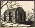 Texas:Early Texas Art - Drawings & Prints, FRANK REDLINGER (1909-1936). Powder House (Phantom Hill),1933. Block print. 9in. x 11 1/4in.. Signed and dated lower ri...(Total: 2 Items)