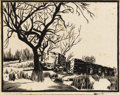 Texas:Early Texas Art - Drawings & Prints, FRANK REDLINGER (1909-1936). Commissary - Phantom Hill,1933. Block print. 9in. x 11 1/4in.. Signed and dated lower righ...(Total: 2 Items)