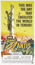 "Movie Posters:Science Fiction, The Deadly Mantis (Universal International, 1957). Three Sheet (41""X 81""). The opening of an Arctic iceberg releases a gian..."