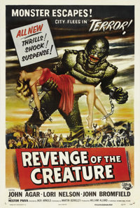 "Revenge of the Creature (Universal, 1955). One Sheet (27"" X 41""). The highest-grossing film of the ""Creat..."