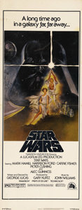 """Movie Posters:Science Fiction, Star Wars (20th Century Fox, 1977). Insert (14"""" X 36""""). The modern cinema's classic science fiction film by George Lucas is ..."""