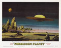 "Movie Posters:Science Fiction, Forbidden Planet (MGM, 1956). Lobby Card (11"" X 14""). Card #8 showsUnited Planets Cruiser C-57D about to land on Altair-4 i..."