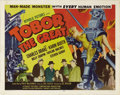 "Movie Posters:Science Fiction, Tobor the Great (Republic, 1954). Half Sheet (22"" X 28"") Style B.There's nothing like the image of a menacing robot carryin..."