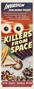 "Movie Posters:Science Fiction, Killers From Space (RKO, 1954). Insert (14"" X 36""). In an ultra-lowbudget version of ""This Island Earth,"" aliens use a scie..."