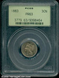 1883 3CN PR 63 PCGS. Seemingly conservatively graded at the Select level, the moderately toned surfaces are free of note...