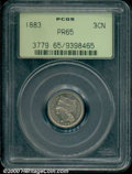 1883 3CN PR 65 PCGS. Minimally toned in golden iridescence, both sides are bright and nearly blemish-free. This coin wou...