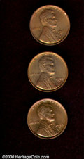 1922-D 1C MS 63 Red and Brown; and (2) 1922-D MS 64 Red and Brown. All coins are considerably lustrous with pleasing oli...