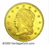 1825 $2 1/2 AU 55 Lightly Cleaned. The 1825 just eclipses the 1824/1 as the most available Capped Head Left quarter eagl...