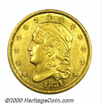 1831 $2 1/2 AU 50. Just 4,520 examples of the 1831 quarter eagle were originally produced, but a large percentage of the...