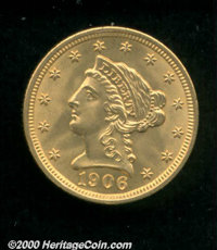 1906 $2 1/2 MS 65. This is a smooth coin and a strong candidate for inclusion in a Gem quality type set. Honey-gold colo...
