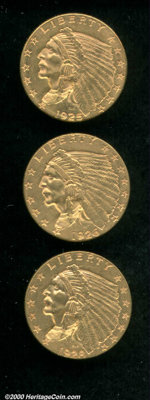 1925-D $2 1/2 MS 60 Cleaned, lustrous and well struck with light hairlines; 1926 MS 60 Cleaned, moderately abraded throu...