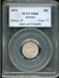 Seated Dimes: , 1873 10C ARROWS