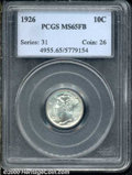 1926 10C MS 65 Full Bands PCGS. The blazing-white surfaces display no significant abrasions, and the devices are fully s...