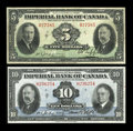 Canadian Currency: , Toronto, ON- Imperial Bank of Canada $10, $5 Nov. 1, 1934, Jan. 3,1939 Ch. # 375-22-08, 375-24-02. ... (Total: 2 notes)