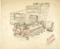 "Movie/TV Memorabilia:Original Art, George Barris ""Grocery Express"" Concept Artwork. A 17"" x 13.75"" pencil sketch on drawing paper of a suped-up grocery cart co... (Total: 1 Item)"