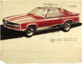 "Movie/TV Memorabilia:Original Art, George Barris Mercedes Concept Artwork. A 14"" x 11"" concept design3/4 front view sketch for what appears to be an early '90...(Total: 1 Item)"