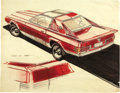 """Movie/TV Memorabilia:Original Art, George Barris Mercedes Concept Artwork. A 14"""" x 11"""" concept design 3/4 rear view sketch for what appears to be an early '90s... (Total: 1 Item)"""