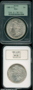 1900-O/CC $1 MS 61 PCGS, the surfaces are minimally patinated with the expected number of bagmarks for the grade; and a...