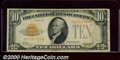 Small Size Gold Certificates:Small Size, 1928 $10 Gold Certificate, Fr-2400, Fine. This note has better ...