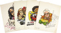 Movie/TV Memorabilia:Original Art, George Barris Celebrity Car Caricatures. Set of four Barris customdesign-themed caricatures by artist S. Waxman, from Barri...(Total: 1 Item)
