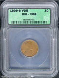 1909-S VDB 1C Cent VG 8 ICG. A well worn example of this popular key issue, with no major defects except honest wear. A...
