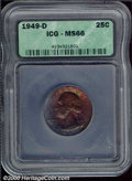 1949-D 25C Quarter MS 66 ICG. This is a blatantly original Gem whose surfaces are awash in cobalt, crimson, and orange-r...