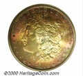 1890-S $1 Dollar MS 66 ICG. The obverse is ablaze in crimson and orange-gold colors. The reverse is also toned, but the...