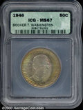 1946 50C Booker T. Washington Half Dollar MS 67 ICG. The deeply toned surfaces reveal antique-copper, olive-gold, and li...