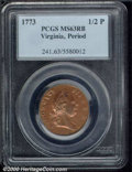 1773 Virginia Halfpenny MS 63 Red and Brown PCGS. Period. Breen-180. The orange-red luster is only slightly muted by tan...