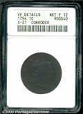 1794 1C Head of 1794--Corroded--ANACS. VF Details, Net Fine 12. S-21, R.4. Although noticeably rough with dark brown pat...