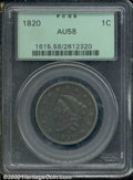 1820 1C Large Date AU 58 PCGS. A glossy chocolate-brown large cent with minimal abrasions and outstanding eye appeal...