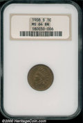 1908-S 1C MS 64 Brown NGC. Golden-brown in appearance, the surfaces are typically struck for this first-year S-mint cent...