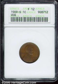 1909-S VDB 1C Fine 12 ANACS. Excellent surfaces and evenly colored for the grade. Well balanced, a highly desirable exam...