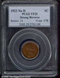 1922 No D 1C Strong Reverse VF 25 PCGS. The glossy brown surfaces are free of any major post-strike impairments. This is...