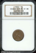 1955/55 1C Doubled Die MS 61 Brown NGC. Original, medium brown surfaces with mentionable marks or spots. Just a little t...