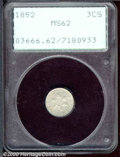 1852 3CS MS 62 PCGS. A pinscratch in the right obverse field and slightly subdued luster limits the grade on this attrac...