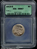 1913-D 5C Type One MS 67 ICG. An impressive and conditionally rare Type One Buffalo nickel, the steel-gray sheen is free...