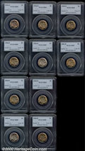 1936-D 5C MS 65 PCGS, ten examples, all are lustrous and are either brilliant or lightly toned