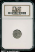 1834 H10C MS 60 NGC. V-1, LM-2, R.1. Moderately abraded with dappled steel-gray toning over satiny surfaces....(PCGS# 42...