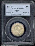 1917-D 25C Type One MS 64 Full Head PCGS. A scarcer issue than its P-mint counterpart, this is an originally toned, gold...